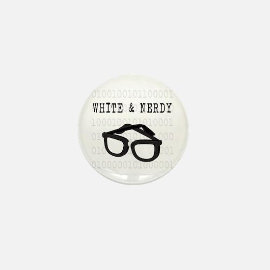 White & Nerdy Mini Button