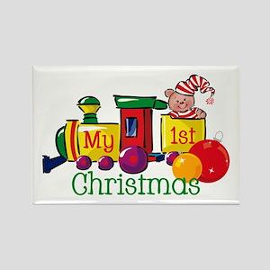 Train 1st Christmas Rectangle Magnet