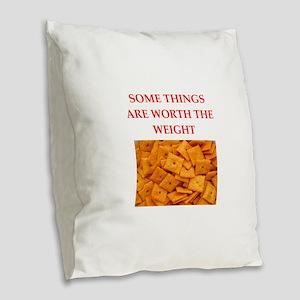 cheese crackers Burlap Throw Pillow