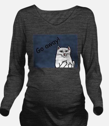 Naughty Cat Long Sleeve Maternity T-Shirt