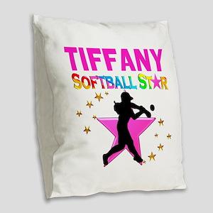 SOFTBALL STAR Burlap Throw Pillow