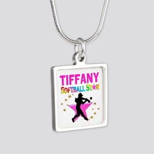 SOFTBALL STAR Silver Square Necklace