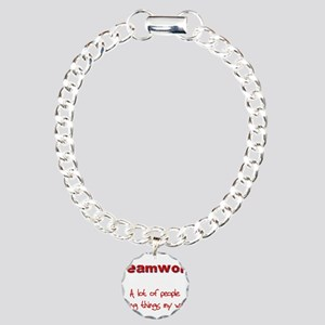 teamwrkred Charm Bracelet, One Charm