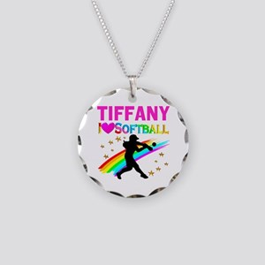 SOFTBALL STAR Necklace Circle Charm