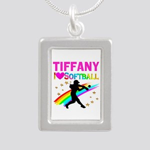 SOFTBALL STAR Silver Portrait Necklace