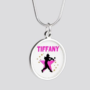 SOFTBALL STAR Silver Round Necklace