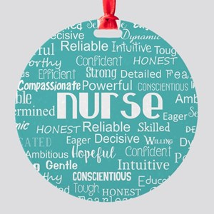 Nurse Adjectives Round Ornament