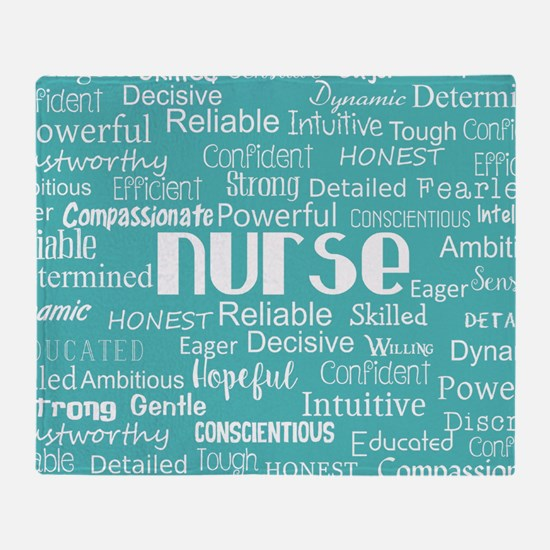 Nurse Adjectives Throw Blanket