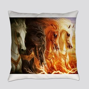 Abstract 3d Horses Everyday Pillow