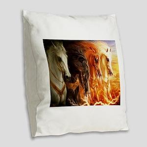 Abstract 3d Horses Burlap Throw Pillow