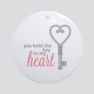 Key To Heart Round Ornament