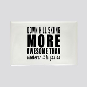 Down Hill Skiing More Awesome Des Rectangle Magnet