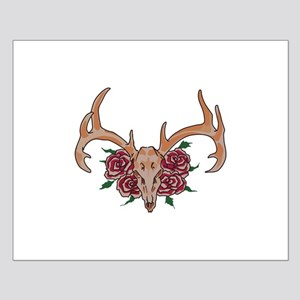 Deer Skull With Roses Posters