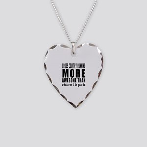 Cross Country Running More Aw Necklace Heart Charm