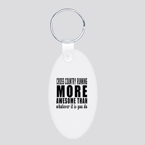 Cross Country Running More Aluminum Oval Keychain