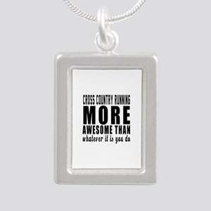 Cross Country Running Mo Silver Portrait Necklace
