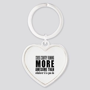 Cross Country Running More Awesome Heart Keychain
