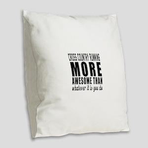 Cross Country Running More Awe Burlap Throw Pillow