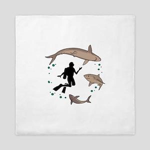 Diver And Sharks Queen Duvet