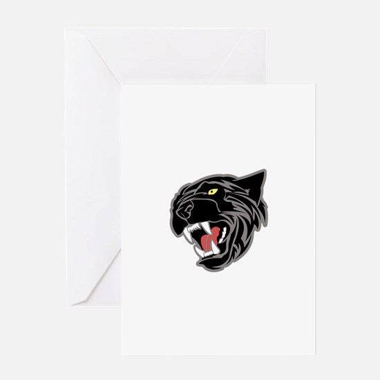 Panther Head Greeting Cards
