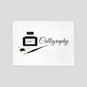 Calligraphy Pen 5'x7'Area Rug