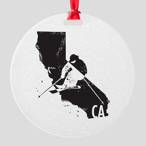 Ski California Round Ornament
