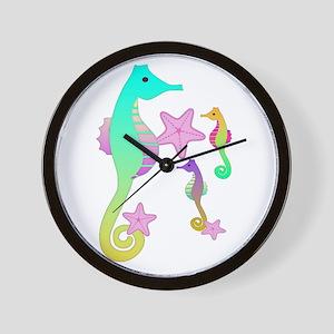 Colorful Sea Horses Wall Clock