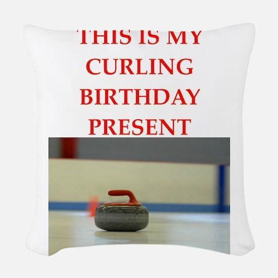 a birthday present Woven Throw Pillow