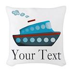 Personalizable Cruise Ship Woven Throw Pillow
