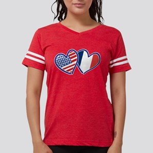 USA France Love Hearts T-Shirt