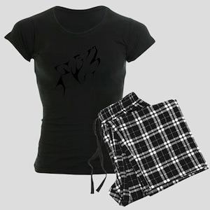 Tribal Wolf Tattoo Dog Women's Dark Pajamas