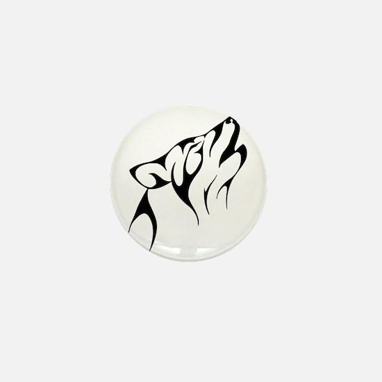 Tribal Wolf Tattoo Dog Mini Button