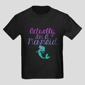 Actually, I'm A Mermaid Kids Dark T-Shirt