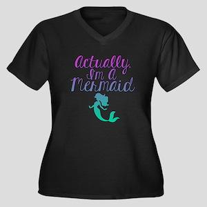 Actually, I' Women's Plus Size V-Neck Dark T-Shirt