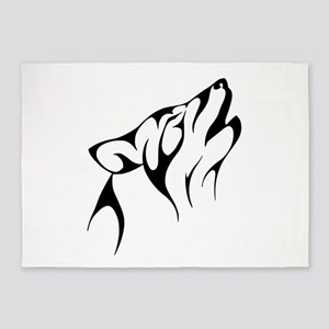 Tribal Wolf Tattoo Dog 5'x7'Area Rug