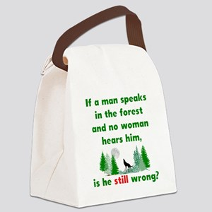 If A Man Speaks In The Forest Canvas Lunch Bag