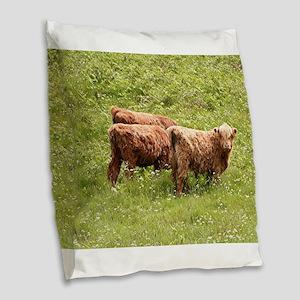 Highland cattle, Scotland Burlap Throw Pillow