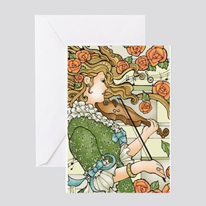Lady With Violin Card Greeting Cards