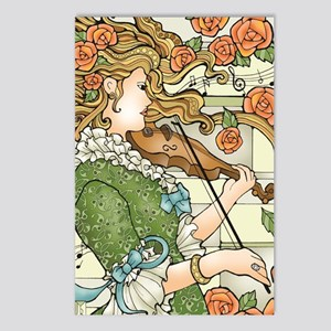Lady With Violin Postcards (package Of 8)