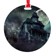 The Haunted House Round Ornament