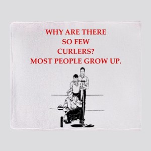 curling joke Throw Blanket