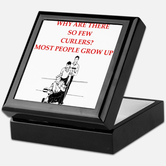 curling joke Keepsake Box