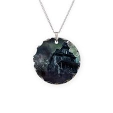 The Haunted House Necklace Circle Charm