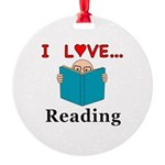 I Love Reading Round Ornament