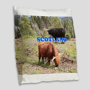 Scotland:two highland cattle Burlap Throw Pillow
