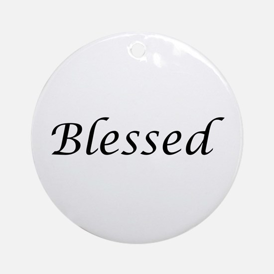 Blessed Calligraphy Style Round Ornament