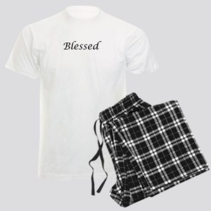Blessed Calligraphy Style Men's Light Pajamas