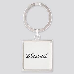 Blessed Calligraphy Style Square Keychain