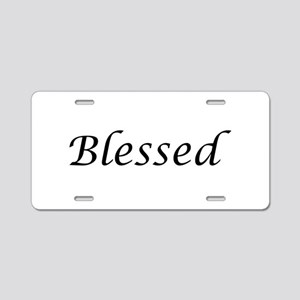 Blessed Calligraphy Style Aluminum License Plate