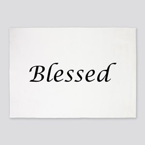 Blessed Calligraphy Style 5'x7'Area Rug